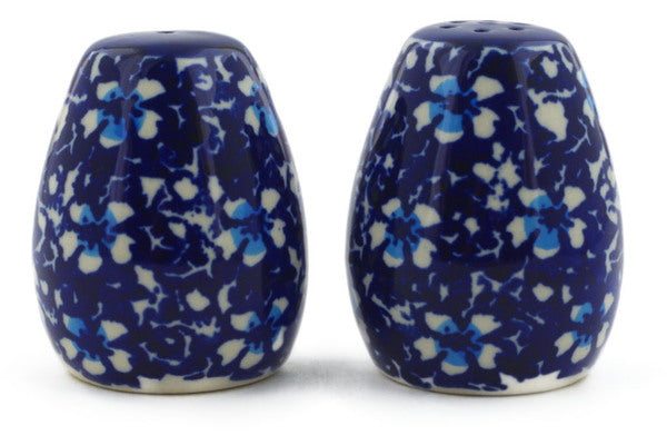 "Polish Pottery Salt and Pepper Set 2"" Flowers On The Lake Theme"