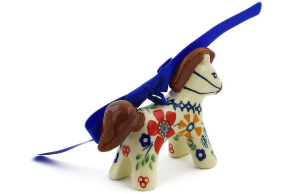 "Polish Pottery Horse Figurine 3"" Ruby Bouquet Theme UNIKAT"