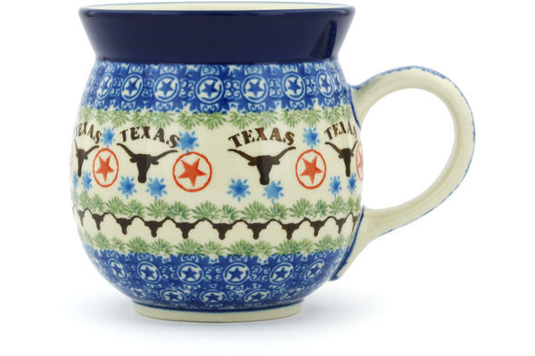 Polish Pottery Bubble Mug 16 oz Texas Longhorns Theme