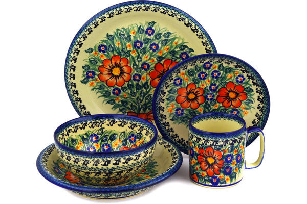 Polish Pottery place setting Wild Bouquet Theme UNIKAT