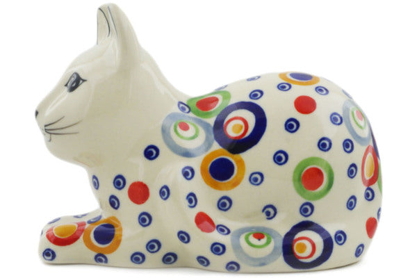 "Polish Pottery Cat Figurine 5"" Bubble Machine Theme UNIKAT"