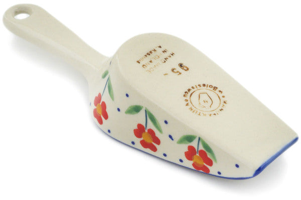 "Polish Pottery Scoop 6"" Red Primrose Theme"