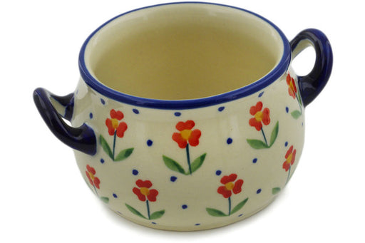 Polish Pottery Bouillon Cup 13 oz Red Primrose Theme