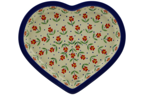 "Polish Pottery Heart Shaped Platter 9"" Red Primrose Theme"