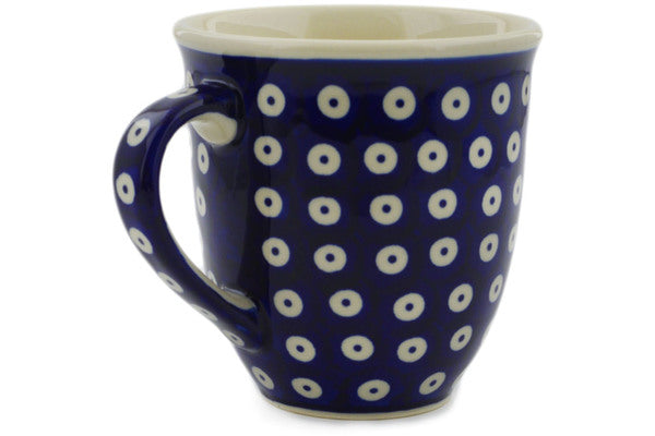 Polish Pottery Mug 17 oz Peacock Eyes Theme