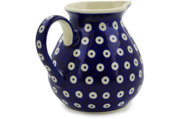 Polish Pottery Pitcher 19 oz Peacock Eyes Theme