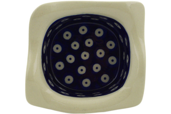 "Polish Pottery Square Bowl 6"" Peacock Eyes Theme"