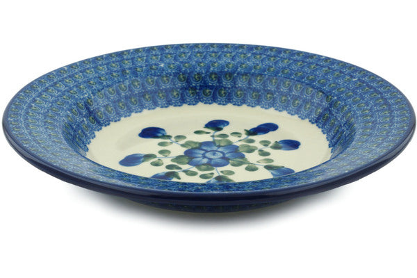 "Polish Pottery Pasta Bowl 9"" Blue Poppies Theme"