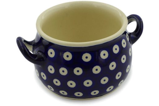 Polish Pottery Bouillon Cup 13 oz Peacock Eyes Theme