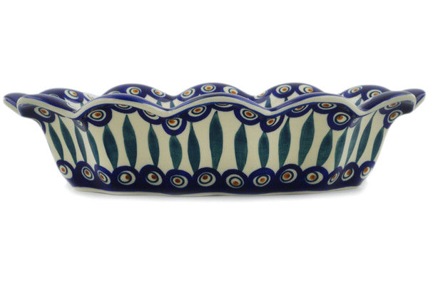 "Polish Pottery Oval Baker 13"" Peacock Theme"