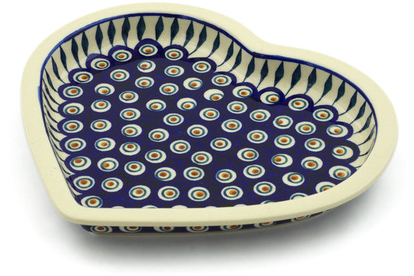 "Polish Pottery Heart Shaped Platter 9"" Peacock Theme"