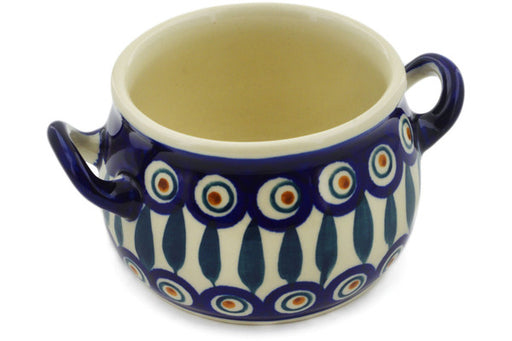 Polish Pottery Bouillon Cup 13 oz Peacock Theme