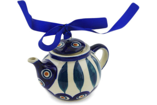 "Polish Pottery Mini Tea Pot 4"" Peacock Theme"