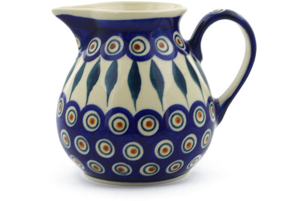 Polish Pottery Pitcher 19 oz Peacock Theme