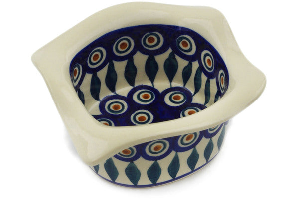 "Polish Pottery Square Bowl 6"" Peacock Theme"