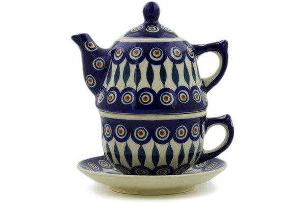 Polish Pottery Tea Set for One 22 oz Peacock Theme