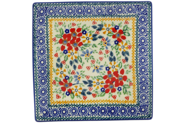 "Polish Pottery Square Plate 7"" Ruby Bouquet Theme UNIKAT"