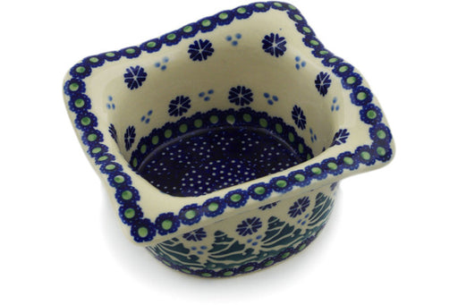 "Polish Pottery Square Bowl 6"" Falling Snowflakes Theme"