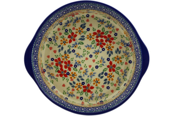 "Polish Pottery Round Baker with Handles 10"" Ruby Bouquet Theme UNIKAT"