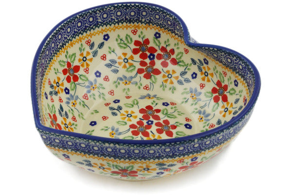 "Polish Pottery Heart Shaped Bowl 9"" Ruby Bouquet Theme UNIKAT"