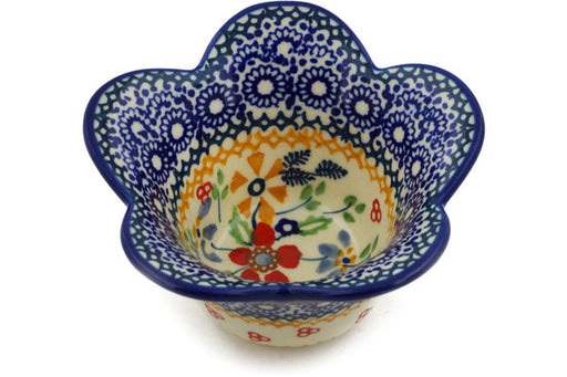 "Polish Pottery Bowl 4"" Ruby Bouquet Theme UNIKAT"