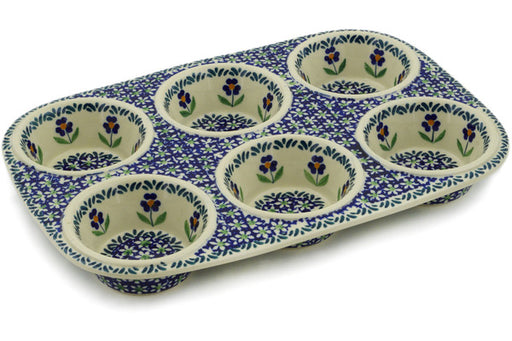 "Polish Pottery Muffin Pan 13"" Mariposa Lily Theme"