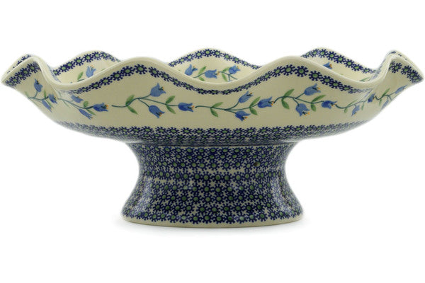 "Polish Pottery Bowl with Pedestal 15"" Sweet Dreams Theme"
