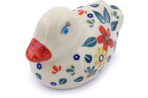 "Polish Pottery Duck Figurine 4"" Red Anemone Meadow Theme"