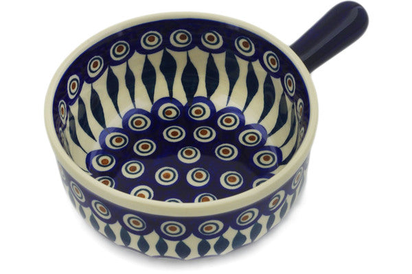 "Polish Pottery Round Baker with Handles 9"" Peacock Theme"