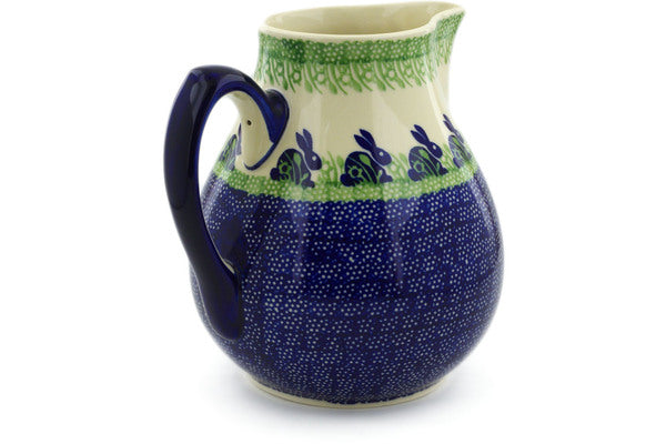 Polish Pottery Pitcher 111 oz Hare In Tall Grass Theme