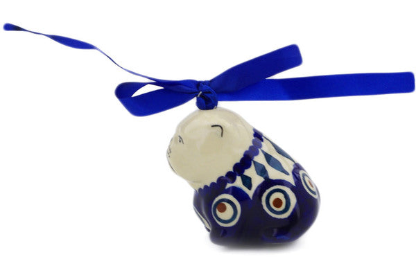 "Polish Pottery Dog Ornament 2"" Peacock Theme"