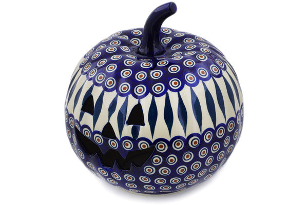 "Polish Pottery Jack O Lantern Candle Holder 9"" Peacock Theme"