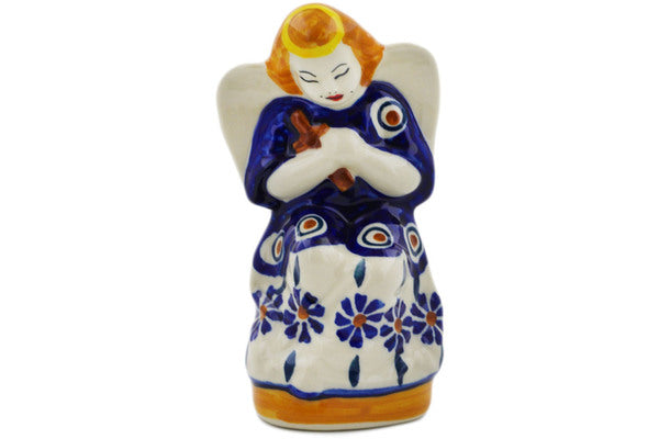 "Polish Pottery Angel Figurine 5"" Peacock Theme"