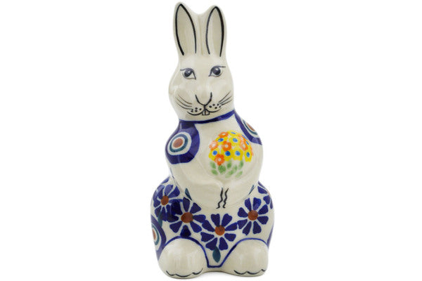 "Polish Pottery Bunny Figurine 5"" Peacock Theme"