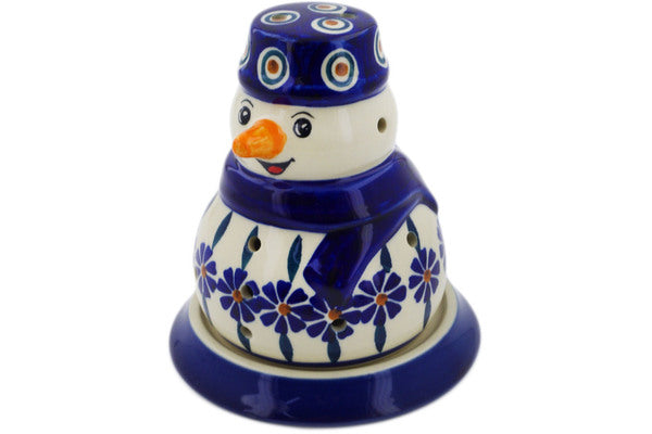 "Polish Pottery Snowman Candle Holder 5"" Peacock Theme"