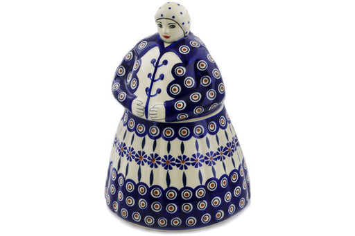 Polish Pottery Woman Shaped Jar 71 oz Peacock Theme