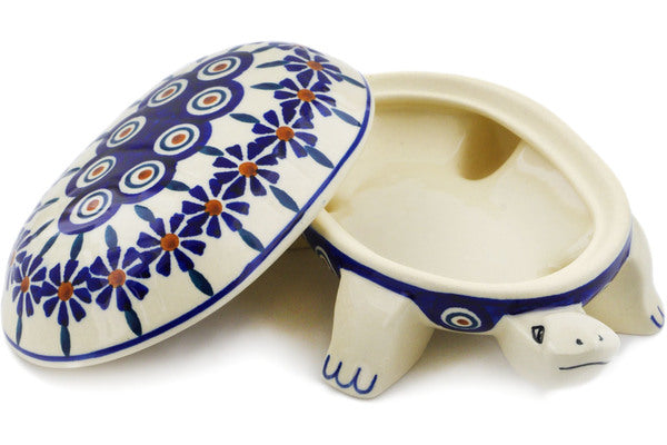 "Polish Pottery Turtle Shaped Jar 7"" Peacock Theme"