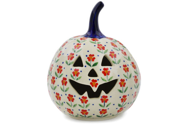 "Polish Pottery Pumpkin Figurine 6"" Red Primrose Theme"