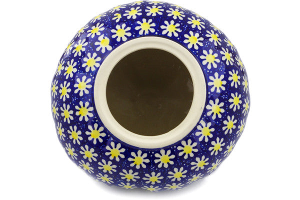 "Polish Pottery Jack O Lantern Candle Holder 9"" Daisy Theme"