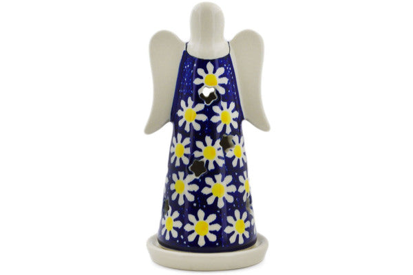 "Polish Pottery Candle Holder 6"" Daisy Theme"
