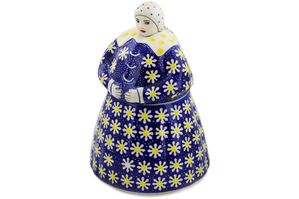 Polish Pottery Woman Shaped Jar 71 oz Daisy Theme