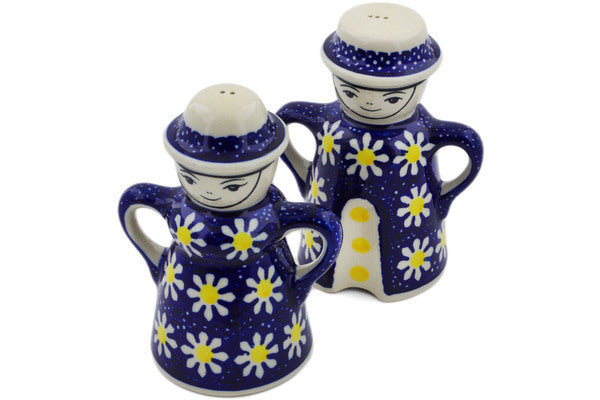 "Polish Pottery Salt and Pepper Set 5"" Daisy Theme"