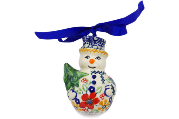 "Polish Pottery Ornament Snowman 4"" Ruby Bouquet Theme UNIKAT"