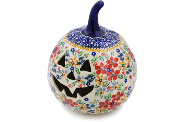 "Polish Pottery Pumpkin Figurine 6"" Ruby Bouquet Theme UNIKAT"