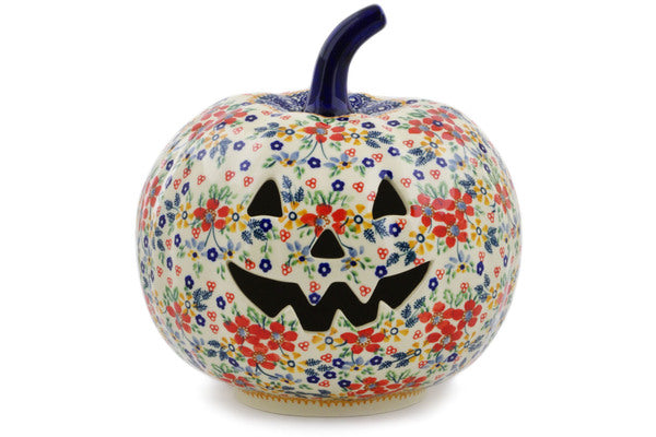 "Polish Pottery Jack O Lantern Candle Holder 9"" Ruby Bouquet Theme UNIKAT"