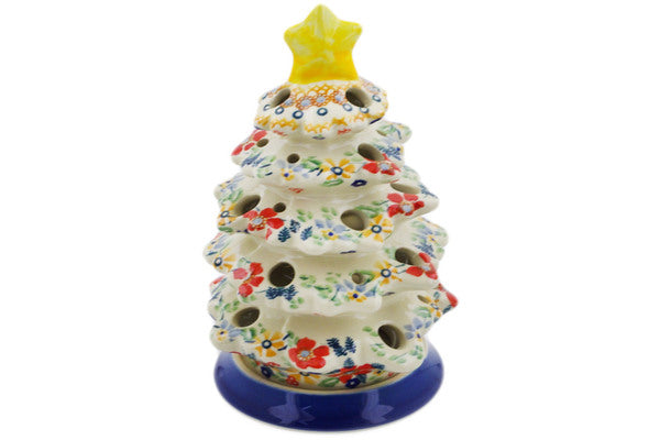 "Polish Pottery Christmas Tree Candle Holder 8"" Summer Bouquet Theme UNIKAT"