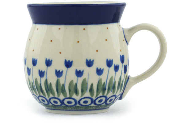 Polish Pottery Bubble Mug 8 oz Water Tulip Theme
