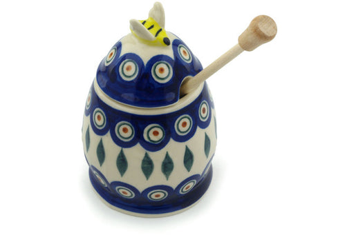"Polish Pottery Honey Jar with Dipper 5"" Peacock Theme"