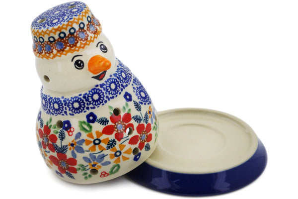 "Polish Pottery Snowman Candle Holder 5"" Summer Bouquet Theme UNIKAT"