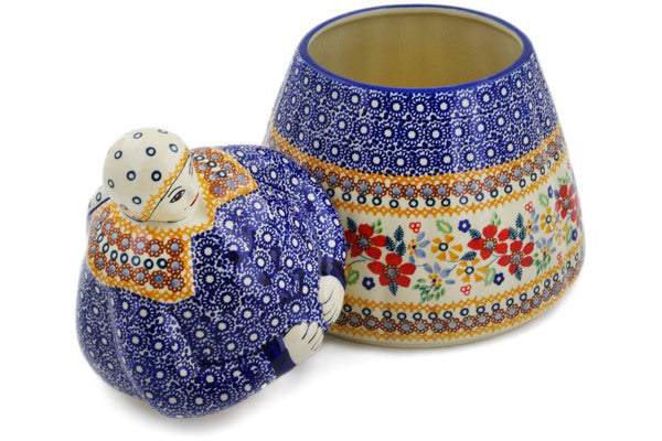 Polish Pottery Woman Shaped Jar 71 oz Summer Bouquet Theme UNIKAT